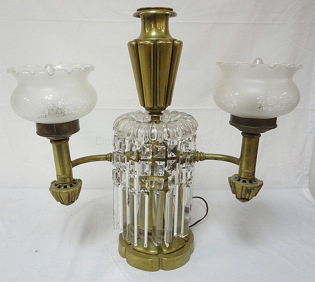 BRASS DOUBLE ARGAND LAMP BY B. GARDINER, NY; HAS CUT PRISMS; REPLACED SHADES; 20 IN W, 20 1/4 IN H