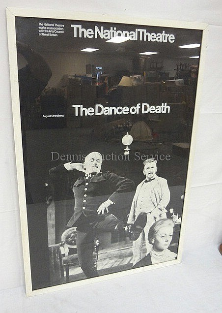 FRAMED ENGLISH NATIONAL THEATRE POSTER FOR STRINDBERG'S *THE DANCE OF DEATH*; HAS 5 AUTOGRAPHS, ROBERT LANG, JANE LAPONTE, GERALDINE MCEWAN & TWO UNREADABLE; 19 1/2 IN X 29 1/2 IN; FROM TRTION GALLERY, NY