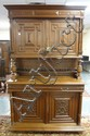 CARVED OAK 2 PC COURT CUPBOARD; 4 DOORS, 2 DRAWERS; HAS A SPINDLE GALLER SHELF IN THE CENTER