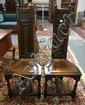 PR OF UNUSUAL CARVED & INLAID HIGH BACK CHAIRS