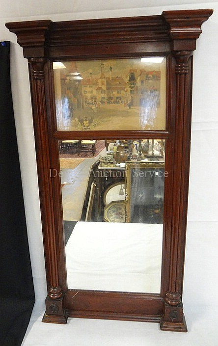 FEDERAL MIRROR W/PRINT OF *OLD VIENNA*; 16 1/2 IN X 30 IN