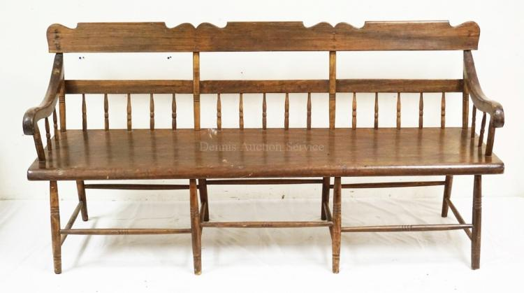 Antique Deacons Bench Half Spindle Back With A Solid Plank