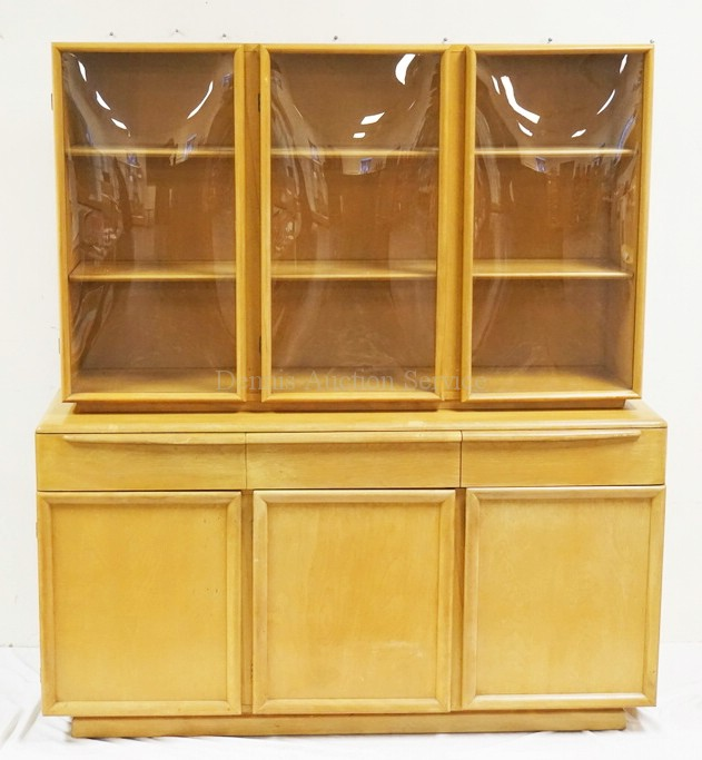 Bubble Glass Kitchen Cabinet Doors: HEYWOOD WAKEFIELD 2 PIECE CHINA CABINET WITH BUBBLE GLASS DO