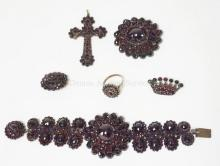 5 PC GARNET JEWELRY: BRACELET 6 1/2 IN, BROOCH 1/3/4 IN DIA, CROSS, SMALL ROUND BROOCH/ CROWN FORM BROOCH AND RING MARKED 900.  LARGE BROOCH AND CROSS BOTH HAVE A STONE MISSING
