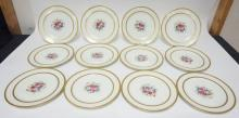 SET OF 12 AHRENFELDT LIMOGES  10 1/4 IN SERVICE PLATES MADE FOR C. REIZENSTEIN, PITTSBURGH ALLEGHENY. FLORAL CENTERS W/ GOLD TRIM.
