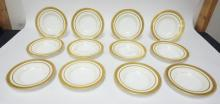 SET OF 12 MINTON GOLD TRIMMED SOUP BOWLS FOR TIFFANY AND COMPANY. H3838. 8 3/4 IN
