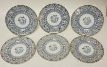 SET OF 6 HAND PAINTED WEDGWOOD PLATES W/ BLUE AND SILVER LUSTER. SOME SLIGHT DECORATION WEAR. 10 5/8 IN