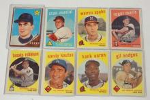 GROUP OF 8 TOPPS BASEBALL CARDS: 1959 MUSIAL, SPAHN, MARIS, B. ROBINSON, KOUFAX, AARON AND HODGES AND A 1962 GAYLORD PERRY ROOKIE CARD.