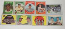 GROUP OF 9 TOPPS BASEBALL CARDS. 7 1959 1 1971 AND 1 1960
