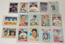 GROUP OF 15 BASEBALL CARDS, 14 TOPPS, 1 FLEER. 1960'S AND 80'S. W/ ROOKIE CARDS