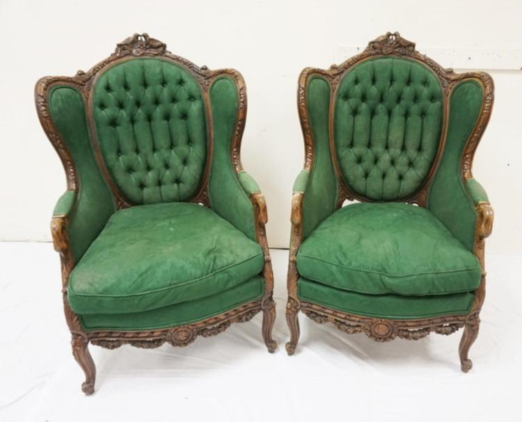 PAIR OF CARVED ARMCHAIRS WITH SWAN ARMS, LOVEBIRD CRESTS ...