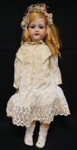 29 INCH ARMAND MARSEILLE 390 BISQUE HEAD DOLL, COMPOSITION BJ BODY, MARKED MADE IN GERMANY/ ARMAND MARSEILLE / 390N / DRGM 24-6 ½ / A 11 M. REPLACED WIG, OLD DRESS, SLIGHT CHEEK RUB, FIRING LINE IN MOLD SEAM