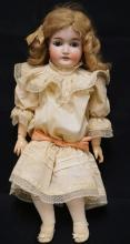 25 INCH QUEEN LOUISE BISQUE HEAD DOLL, COMPOSITION BJ BODY, MOHAIR WIG, OLD CLOTHES, REPAINTED BODY, EY SOCKET CHIPS TO RIGHT EYE, MARKED GERMANY/QUEEN LOUISE/10
