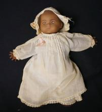 10 INCH ARMAND MARSEILLE BLACK DREAM BABY BISQUE HEAD DOLL, CLOTH BODY W/COMPO HANDS (REPAINTED), MARKED A.M./GERMANY/341/0, OLD CLOTHES