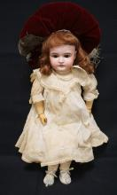 28 INCH KESTERN 164 BISQUE HEAD DOLL, MARKED COMPOSITION BJ BOCY, NEW WIG, OLD CLOTHES, MARKED MADE IN L GERMANY 15/164