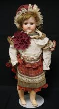27 INCH ARMAND MARSEILLE 390 BISQUE HEAD DOLL, COMPOSITION BJ BODY (RIGHT FOOT DAMAGED), NEW WIG, NEW CLOTHES, MARKED MADE IN GERMANY / ARMAND MARSEILLE / 390N / DRGM 246/1 / A 9 M