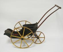 LATE 19TH CENTURY JOEL ELLIS STYLE OPEN CARRIAGE, 20 INCHES TALL, 28 INCHES FROM BACK TO FRONT, ORIGINAL PAINT (PAINT ON WHEELS IS MOSTLY GONE), ORIGINAL CARPET IN CARRIAGE