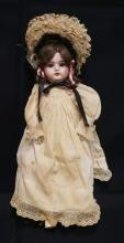 17 INCH SPECIAL BISQUE HEAD DOLL, LEATHER BODY W/BISQUE LOWER ARMS AND COMPO LOWER LEGS, OLD WIG/CLOTHES, MARKED SPECIAL