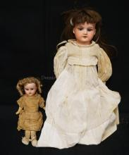 20 INCH ARMAND MARSEILLE 370 BISQUE HEAD DOLL, LEATHER BODY W/BISQUE LOWER ARMS (DAMAGE TO LEATHER ARMS / LOWER LEATHER LEGS MISSING), OLD CLOTHES/NEW WIG  //  12 INCH SCHOENHAU & HOFFMEISTER 1909 BISQUE HEAD DOLL, 5 PIECE COMPO BODY, OLD HAIRLINE TO BACK OF HEAD (BOTH DOLLS FOR ONE MONEY)