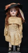 19 INCH HANDWERCK 109 BISQUE HEAD DOLL, COMPOSITION BJ BODY (DAMAGE TO UPPER RIGHT LEG), NEW WIG/OLD CLOTHES, TINY EAR CHIP TO RIGHT EAR, MARKED 109-11