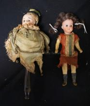 11 INCH BELTON TYPE MAROTTE TOY, FLAT TOP BISQUE HEAD ON STICK W/ORIGINAL WIG AND CLOTHING (POOR CONDITION), 9 INCH W & CO BISQUE HEAD DOLL ON 5 PC COMPO BODY, ORIGINAL DRESS/NEW WIG, MARKED W & CO / 120 /12/0 (BOTH PIECES FOR ONE MONEY)