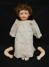 22 INCH ARMAND MARSEILLE 975 BISQUE HEAD DOLL, COMPOSITION BABY BODY, HH WIG/NEWER CLOTHES, MARKED OTTO GANZ / GERMANY / 975 / A 11 M, ARMS UNSTRUNG