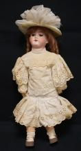 22 INCH ARMAND MARSEILLE 390 BISQUE HEAD DOLL, COMPOSITION BJ BODY, NEW WIG/OLD CLOTHES, MARKED MADE IN GERMANY / 390 / A 7 M