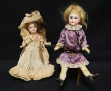PAIR OF GERMAN BISQUE HEAD DOLLS ON 5 PC COMPO BODIES ? 9 ½ INCH UNMARKED, 7 INCH GEBRUDER KRAUSS, OLDER CLOTHES/WIGS, BOTH FOR ONE MONEY