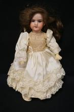 14 INCH ARMAND MARSEILLE 390 BISQUE HEAD DOLL, COMPOSITION STICKY TYPE BODY, NEW WIG/CLOTHES, MARKED MADE IN GERMANY / ARMAND MARSEILLE / 390N / DRGM 246/1 /A 3/0X-M