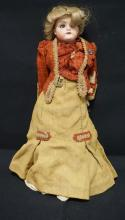 18 INCH LHB GERMAN BISQUE HEAD DOLL, SHOULDER HEAD ON LEATHER BODY W/BISQUE LOWER ARMS (CHIP TO LEFT HAND), NEW WIG/OLD CLOTHES, MARKED L.H.B.