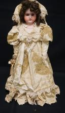24 INCH LILLY GERMAN BISQUE HEAD DOLL, SHOULDER HEAD ON LEATHER BODY W/RIVETS, COMPO BJ ARMS, NEW WIG/CLOTHES, MARKED LILLY / 3