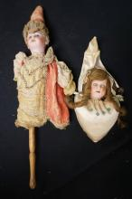 15 INCH GERMAN MAROTTE TOY, FLANGE STYLE BISQUE HEAD MARKED 52 70, ORIGINAL CLOTHING IS SHREDDED, MISSING RIGHT WOODEN ARM / JAPAN MORIMURA BROS SHOULDER HEAD DONE AS PINCUSHION, HH WIG (BOTH LOTS ONE MONEY)