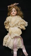 22 INCH ARMAND MARSEILLE KIDDIEJOY BISQUE HEAD DOLL, SHOULDER HEAD ON LEATHER RIVET BODY W/BISQUE LOWER ARMS, NEW WIG/CLOTHES, MARKED GERMANY / KIDDIEJOY / 2 ½