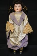 25 INCH ARMAND MARSEILLE 370 BISQUE HEAD DOLL, SHOULDERHEAD ON LEATHER RIVET BODY W/COMPO LOWER ARMS AND LEGS (LEATHER REINFORCED ON LEFT LEG), NEW WIG/CLOTHES, MARKED GERMANY / 370 / A 7 M