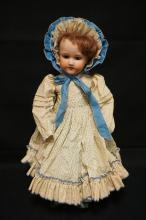 24 INCH ARMAND MARSEILLE 390 BISQUE HEAD DOLL, COMPOSITION BJ BODY, NEW WIG/CLOTHES, BISQUE IS SOMEWHAT BLOTCHY, MARKED ARMAND MARSEILLE / GERMANY / 390 / A 8 M