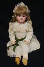 31 INCH ARMAND MARSEILLE BISQUE HEAD DOLL, COMPOSITION BJ BODY (SOME SLIGHT CRACKING), NEW WIG/CLOTHES, MARKED A 14 M / 11