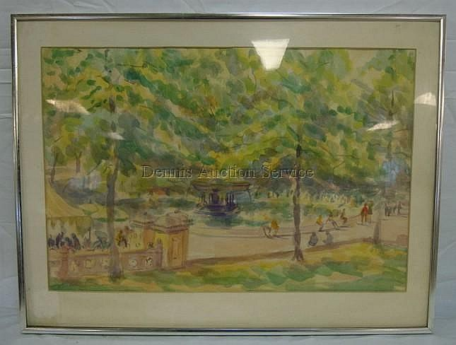 FRAMED WATERCOLOR BY ALBERT SWAY, PARK SCENE; PLEXIGLASS FRONT HAS A CRACK LOWER LEFT; 21 IN X 14 IN