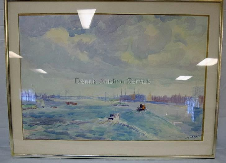 FRAMED WATERCOLOR BY ALBERT SWAY, TITLED *CARNEGIE LAKE*; 21 IN X 14 IN; PLEXIGLASS FRONT