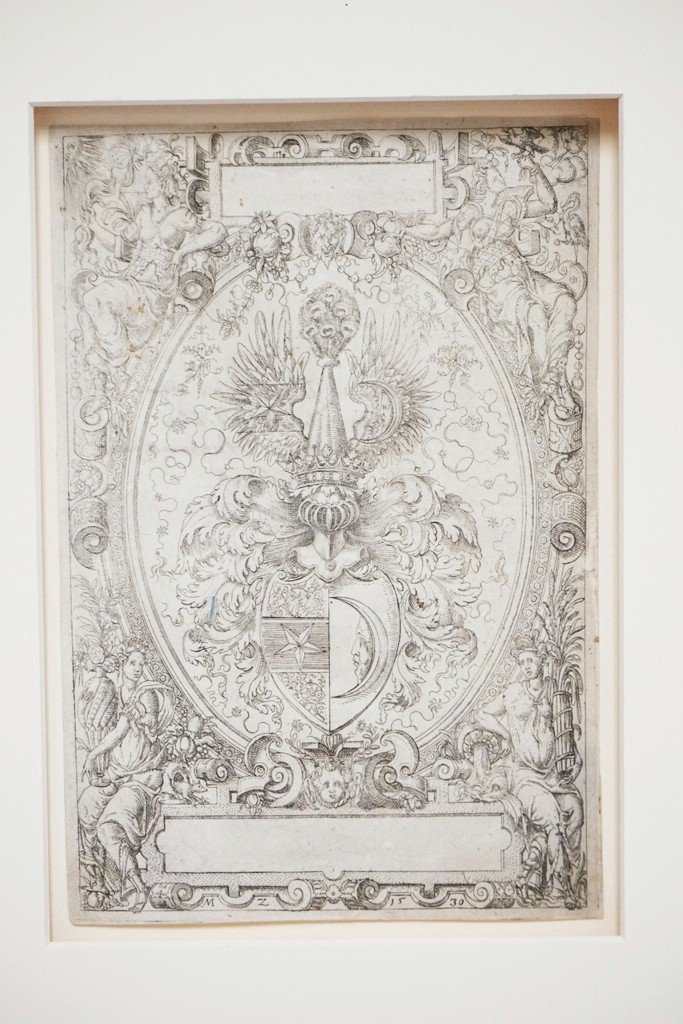 MATTHIAS ZUNDT (CIRCA 1498-1572) ETCHING. COAT OF ARMS FOR HERMANN VON GUTTENBERG. 172 X 115 MM. CIRCA 1569. ON LAID PAPER. TRIMMED ON THE PLATEMARK.
