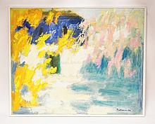 JOSIP TROSTMANN (1938-) ABSTRACT OIL PAINTING ON CANVAS SIGNED LOWER RIGHT AND DATED 1998. 39 1/4 X 32 INCHES.