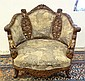 HEAVILY CARVED ARM CHAIR W/GIGURAL ARMS &