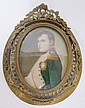 MINIATURE PORTRAIT ON IVORY, ARIST SIGNED KERN; NAPOLEAN; IN AN ORNATE BRONZE FRAME; IMAGE 2 1/2 IN X 3 1/4 IN
