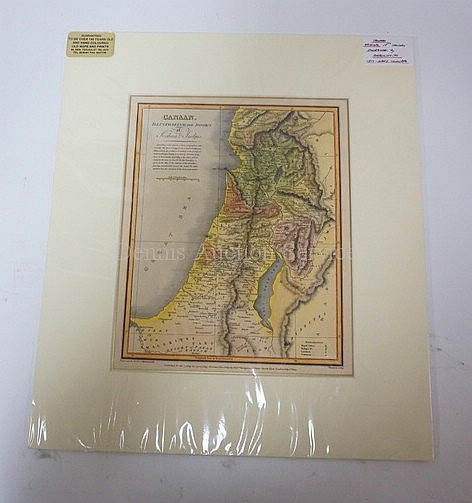 MATTED, HAND COLORED MAP, *CANAAN* BY AARON ARROWSMITH; 8 1/2 IN X 10 1/2 IN
