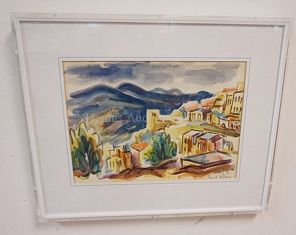 PRINT? BY DACID GILBOA IN LUCTIE FRAME; HILLSIDE VILLAGE; 13 IN X 9 IN