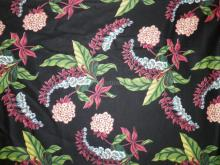 LARGE BOLT OF MID. C. FABRIC. FLOWERS AND LEAVES ON A BLACK GROUND. 13 YARDS X 46 IN
