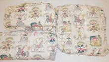 4 SASCHA BRASTOFF *EARLY AMERICAN* CURTAIN PANELS. PAIR AT 6 FT 6 IN X 21 IN AND 6 FT 6 IN X 50 IN AND 60 IN