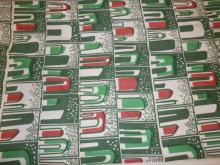 VERY LARGE BOLT OF MID C MODERN ABSTRACT FABRIC- RED, GREEN AND WHITE. 23 YDS X 48 IN WIDE