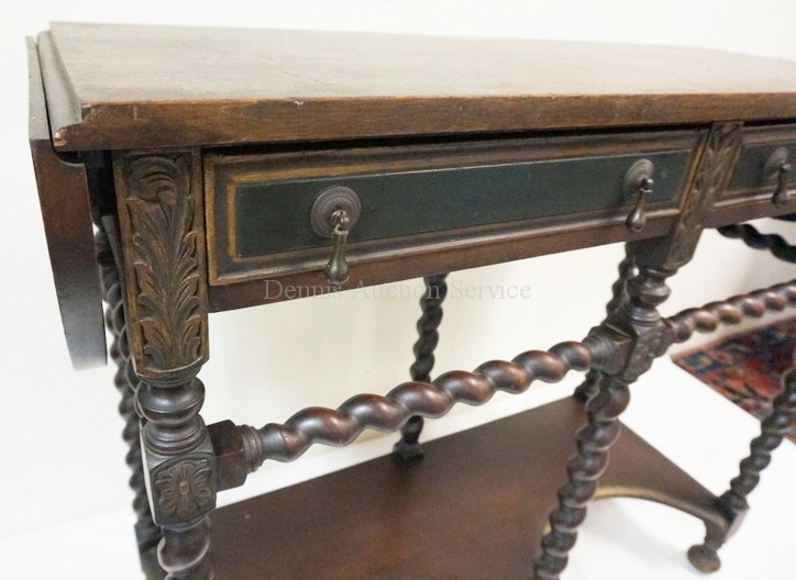 Carved Oak Console Table With Drop Leaves And Twist Carved Legs 40