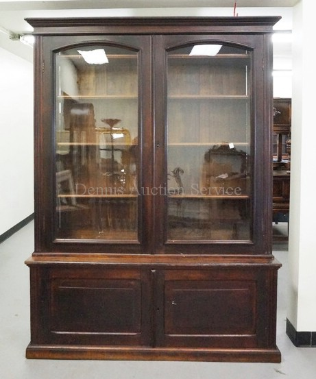 Victorian Stepback Cupboard With Bookcase Top And Glass Doors