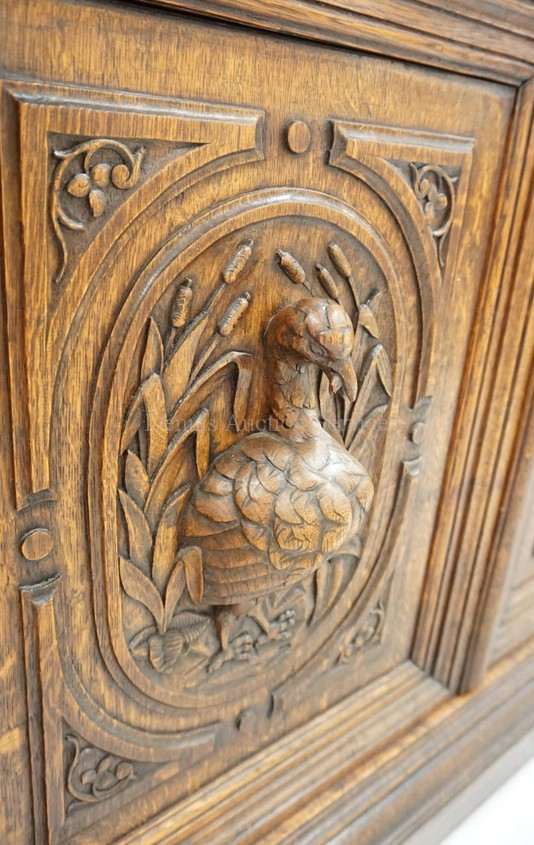 Antique english oak sideboard with deep relief carvings incl